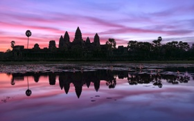 Картинка небо, вода, отражения, утро, Камбоджа, храмовый комплекс, Ангкор-Ват