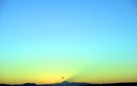 Обои небо, горы, озеро, птица
