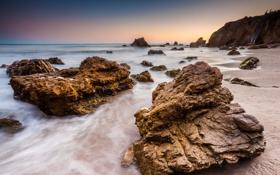 Обои песок, камни, пляж, океан