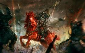 Картинка оружие, конь, фокус, воин, арт, всадник, битва
