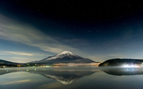 Обои небо, гора, вулкан, Япония, Fuji, ночь звезды
