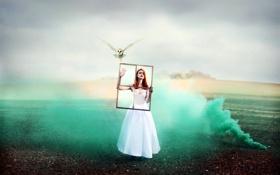 Картинка девушка, птица, дым