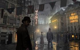 Обои город, улица, вечер, steampunk, прохожие