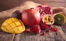 Обои фрукты, fresh, гранат, fruits, berries