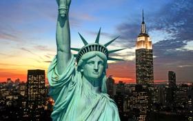 Картинка ночь, city, город, lights, огни, Нью-Йорк, горизонт