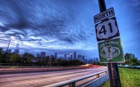 Обои город, знак, трасса, США, Chicago, Иллиноис