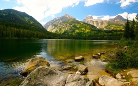 Обои water, mountains, stones, Lake, vegetation