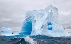 Обои облака, лёд, айсберг, океан, вода, волны, альбатрос