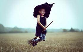 Обои девочка, полёт, ведьма