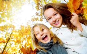 Обои осень, радость, счастье, настроение, девочки, sensation, sunshine