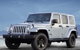 Обои небо, джип, внедорожник, передок, колёса, jeep, wrangler