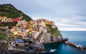 Картинка город, скала, фото, побережье, дома, Италия, Manarola