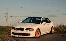 Обои E46, BMW, White, Тюнинг, Stance, Купе, Фары