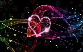 Картинка сердце, День Св.Валентина, бабочки