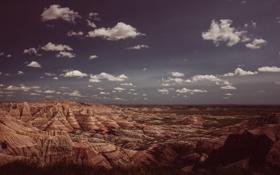 Картинка небо, облака, пустыня, горизонт, Соединенные Штаты, Южная Дакота, Батт