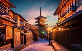 Обои закат, город, улица, дома, Япония, архитектура, Киото