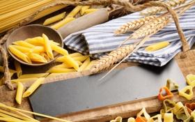 Обои пшеница, дерево, ложка, доска, спагетти, макароны