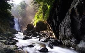 Обои природа, камни деревья, небольшой водопад