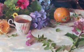 Картинка цветы, чай, роза, апельсины, картина, чашка, фрукты