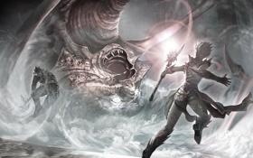 Обои фантастика, Монстр, воин, маг, битва, чудовище