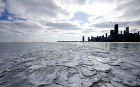 Обои лед, зима, небоскребы, USA, америка, чикаго, Chicago