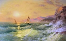 Обои море, волны, солнце, пейзаж, горы, скалы, Закат