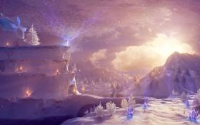 Обои зима, снежная, Snow Queen Realm, молнии, королева