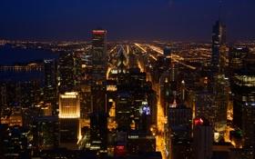 Обои ночь, огни, река, Чикаго, США, небоскрёбы, улицы