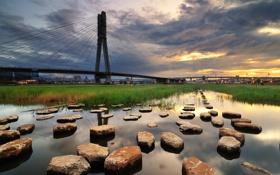 Обои камни, река, небо, мост, гладь