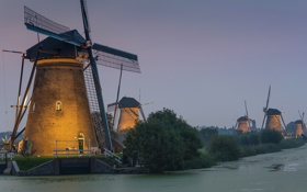 Обои небо, деревья, вечер, канал, Нидерланды, ветряная мельница