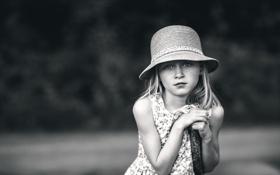 Картинка портрет, девочка, шляпка