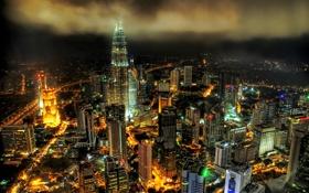Обои ночь, город, высотки, малайзия, Куала-Лумпура, Патронас