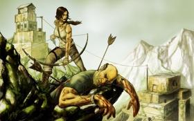 Обои девушка, мужик, арт, лара, Tomb Raider reborn contest