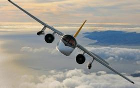 Обои облака, земля, полёт, самолёт