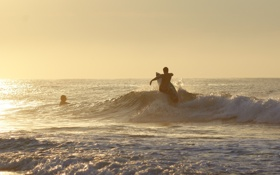 Обои море, волны, закат, брызги, купание, серфинг, доска
