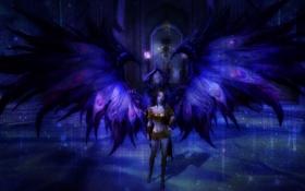 Обои статуя, фантастика, голубое, помещение, девушка, цвет, крылья