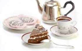 Обои чай, сладость, чайник, пирожное