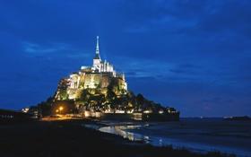 Обои небо, ночь, Франция, остров, подсветка, крепость, синее