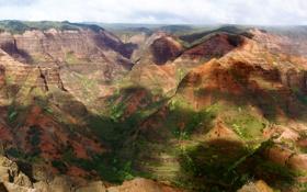 Обои Камни, Панорама, Зелень, Холмы, Деревья, Скалы, Лес
