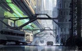 Картинка город, будущее, транспорт, поезд, WipEout 2048