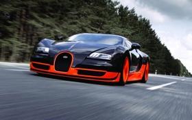 Обои скорость, Bugatti, Veyron, суперкар, бугатти, передок, Super Sport