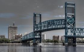 Картинка Jacksonville, Флорида, река, Florida, мост, Джексонвилл, Main Street Bridge