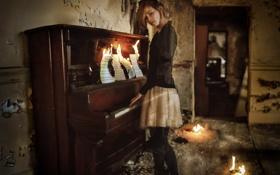 Картинка пианино, ноты, девушка
