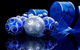 Картинка шары, серебряный, украшения, лента со снежинками, Ёлочные, отражение, синий