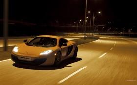 Картинка дорога, ночь, город, фары, McLaren MP4-12C, скорось
