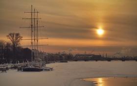 Картинка солнце, пейзаж, закат, корабль, Вечер