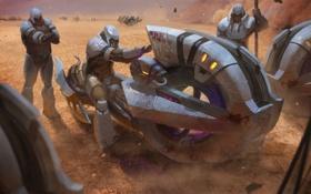 Обои транспорт, пустыня, броня, halo wars, отметки