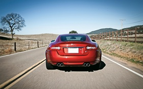 Картинка Jaguar, XKR, Red, Road, Motion, 2013 Coupe