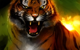 Обои тигр, ярость, клыки, оскал, art, Bengal Tiger