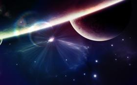 Обои звезды, лучи, свет, блики, планета, Space, stars